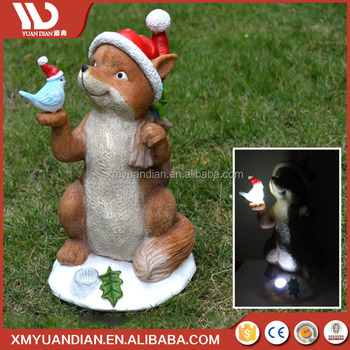 Online Shop China Art Work Fox Resin Craft Solar Garden Led Light