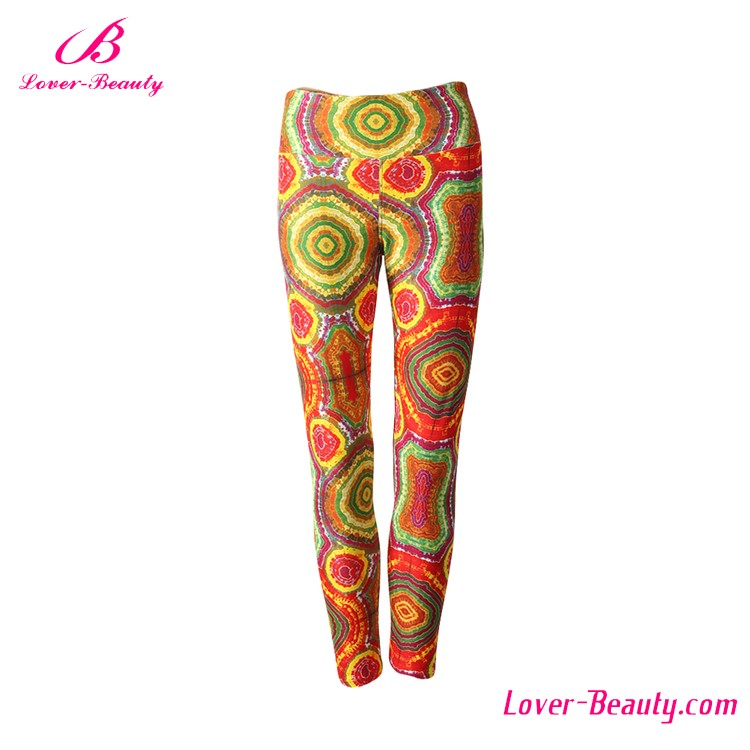 Wholesale Soft Custom Printed 92 Polyester 8 Spandex Brushed Leggings