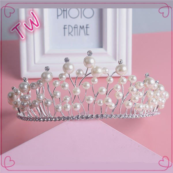 Free sample good quality 2017 trendy pearl pearl jewelry wedding party design crystal rhinestone tiara flower crown