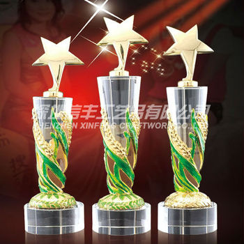 Crystal colored Enamel star trophies