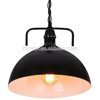 Home decoration country style indoor hanging light retro black restaurant industrial metal lamp shades vintage pendant lamp