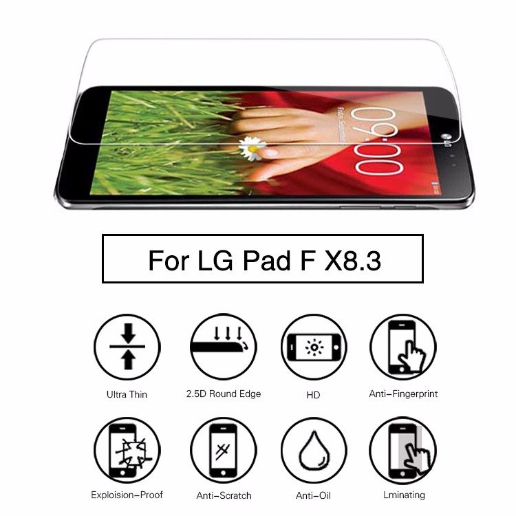 2.5D 9H 0.33thickness ultra clear tempered glass screen protector for LG G Pad X 8.3