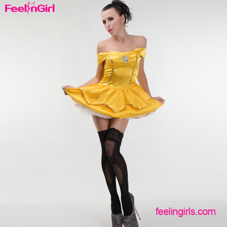 Sexy Golden Off Shoulder Costumes Halloween Pretty Princess Dresses