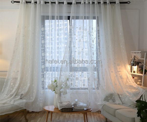 100% polyester eyelet rings modern embroidered tulle Curtains