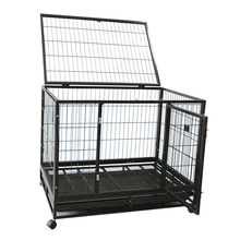 Heavy Duty large square tube Dog crate Animal Cage with double Doors