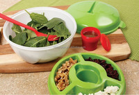 All in One Salad 2 Go Container bowl set with Attachable Fork & dressing cup