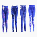 Womens print flower sexy denim jeans jegging