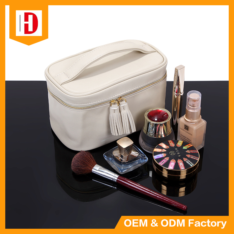 Big Capacity PU Leather Make Up Bag round Shape Cosmetic Bag
