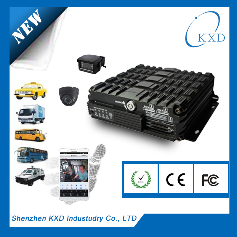 Fuel and door alarm linkage 4ch hdd car dvr h.264 playback CMS free software for 5000 vehicles