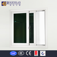 ROGENILAN french window design stained glass aluminum up and down sliding window