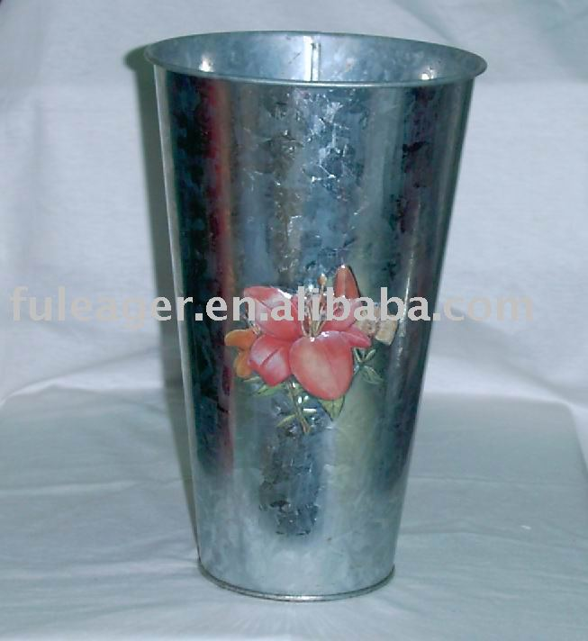 Galvanized tin vase, metal vase, Flower vase