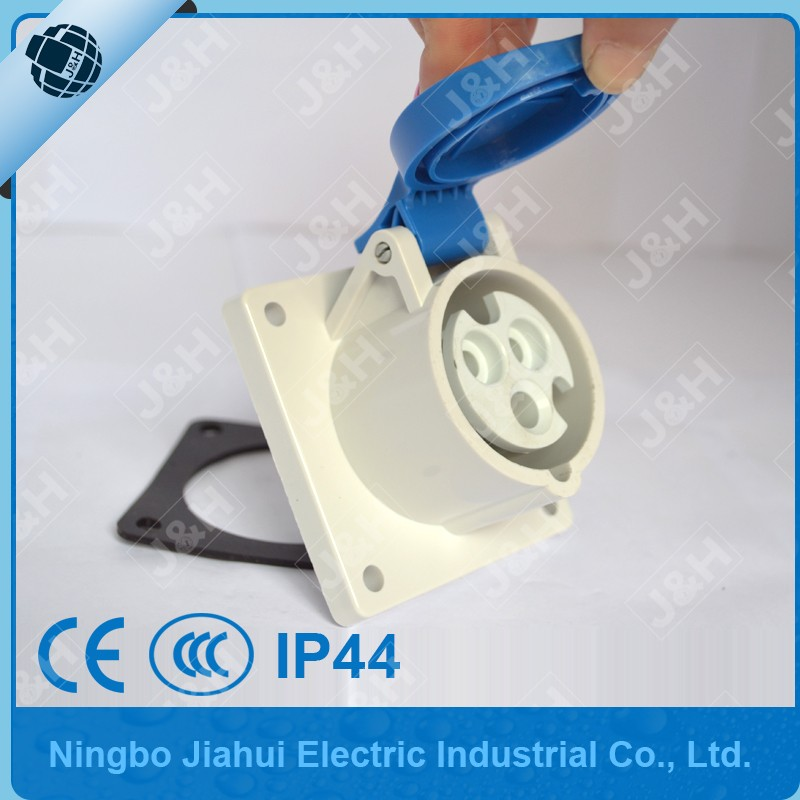 Jiahui Ningbo manufacturer CEE/IEC mounted socket waterproof outdoor 16A 3 poles panel socket
