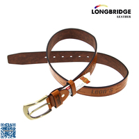 Classic cowboy belt with custom logo belt buckle