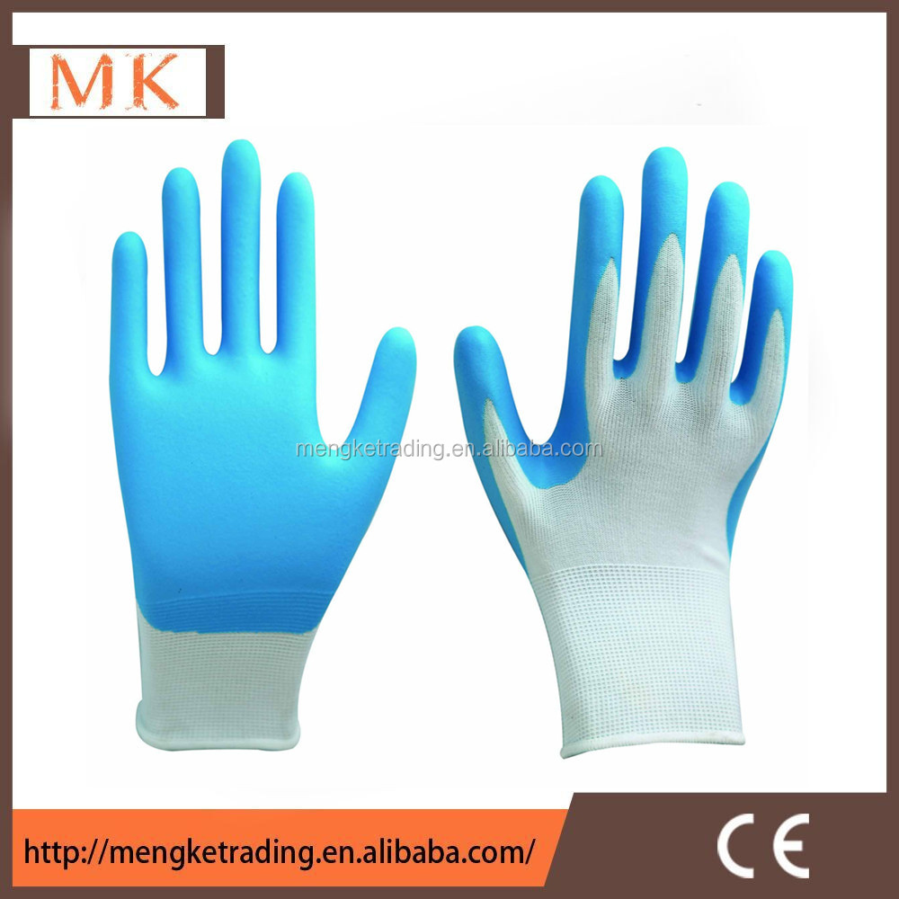 breathable aqua foam blue nitrile gloves