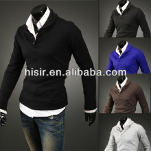 2014 new spring mushroom cotton design fake two long-sleeved mens' knitwear 5colors 4 sizes Q00-MJ05