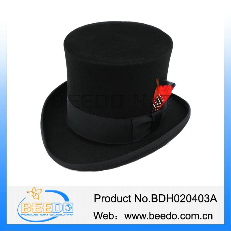 Traditional wool black tall silk top hat with satin Lining