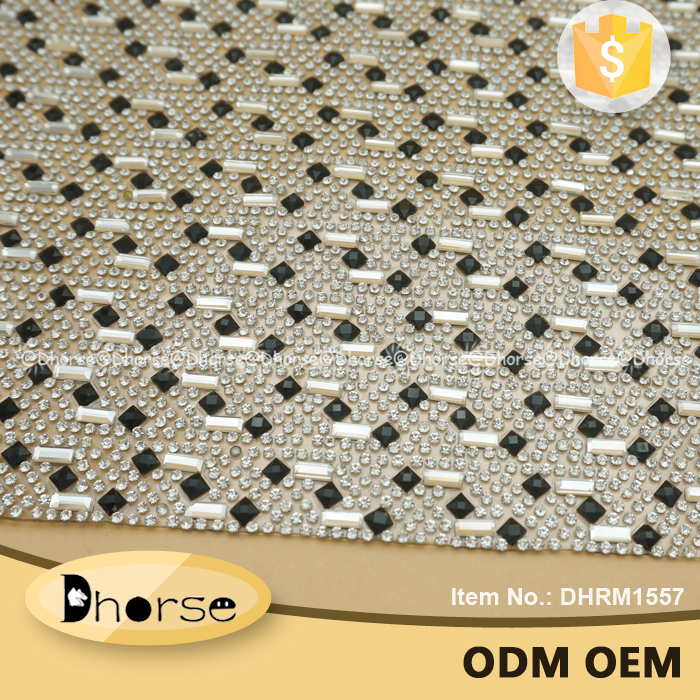 Latest design hot fix black and silver rhinestone mesh sheet wrap trimming DHRM1557