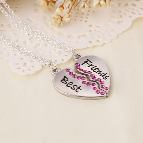 Best Friend Gift Heart Gold Silver Crystal Rhinestone 2 Pendants Necklace Unique Friendship