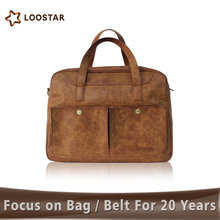 Loostar Men's Leather Travel Duffle Bag, Weekend Bag for Men, Carry On Bag