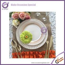 18103 With Logo Wedding German/Mexican/Japanese Deep Dish White Square Porcelain Printed with Purple Flower Dinner Plates