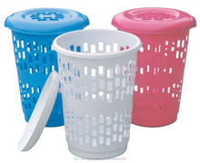 FUCHSIA, TURQUOISE, LIME GREEN, ORANGE 49L ROUND PP PLASTIC LAUNDRY BASKET W/LID