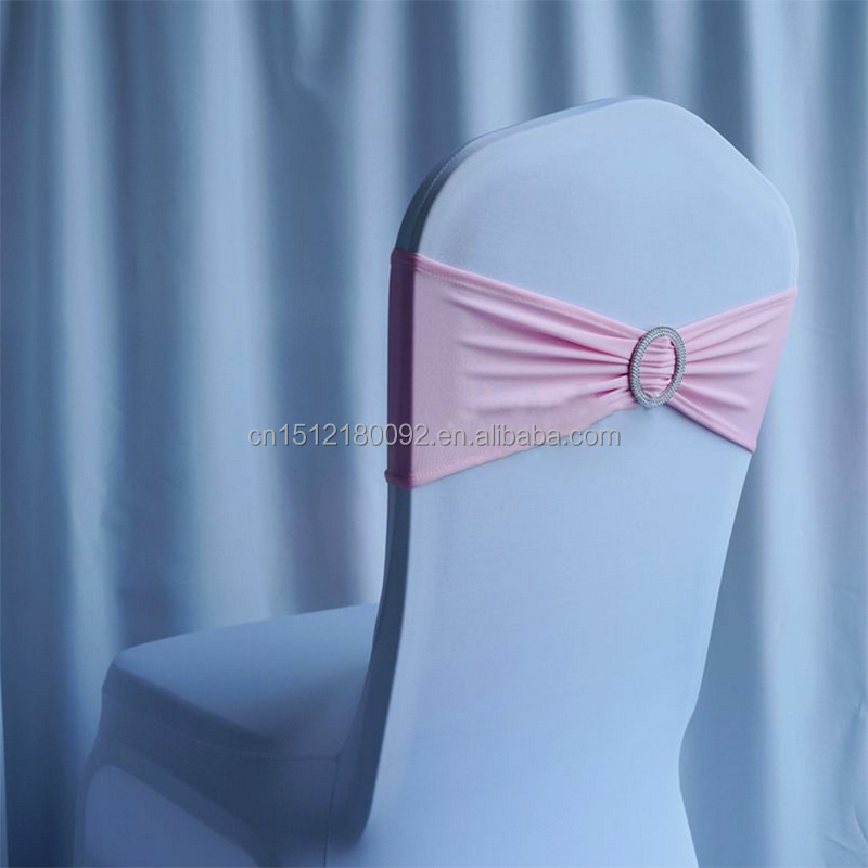Pink Spandex Chair Cover Bands with Round Buckle / Spandex Chair Sash