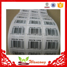 Hot sale!! Cheap price strong hold printable barcode label for garment jewelry clothes, barcode label printing scale