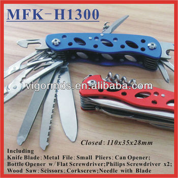 "(MFK-H1300) 4-3/8"" Camping Colored Aluminum Handle Pocket Multifunction Knives"