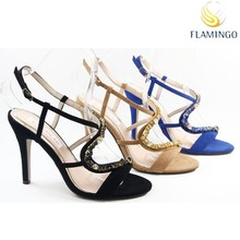 FLAMINGO 2015 LATEST ODM/ OEM Fashion design Ladies High Heel sandals fancy stones summer shoes