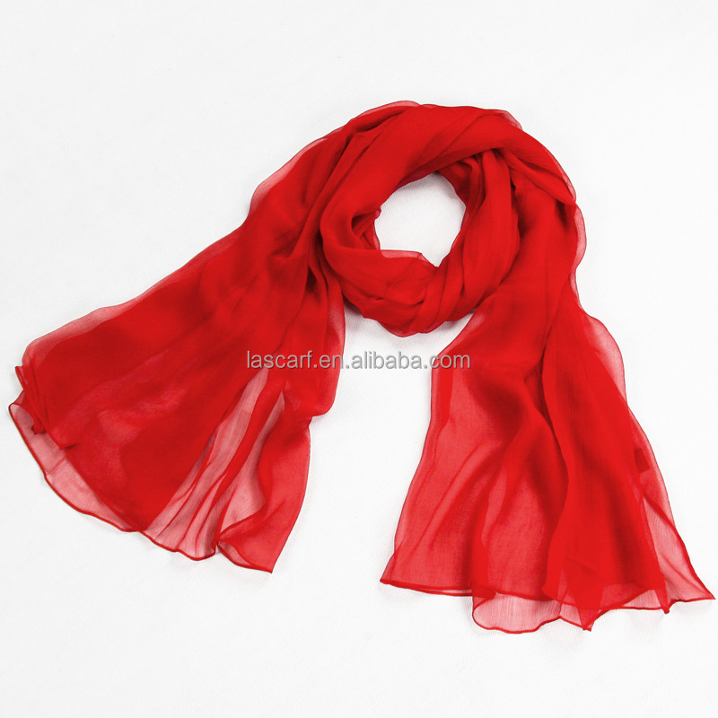 2017 Hot sale 100% silk girl's summer scarf red pure color on sale