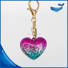 Boutique luxurious Girl Coin Holder Sweet Hearts Key Chain Blue Crystal Heart Keychain For Brand Handbag