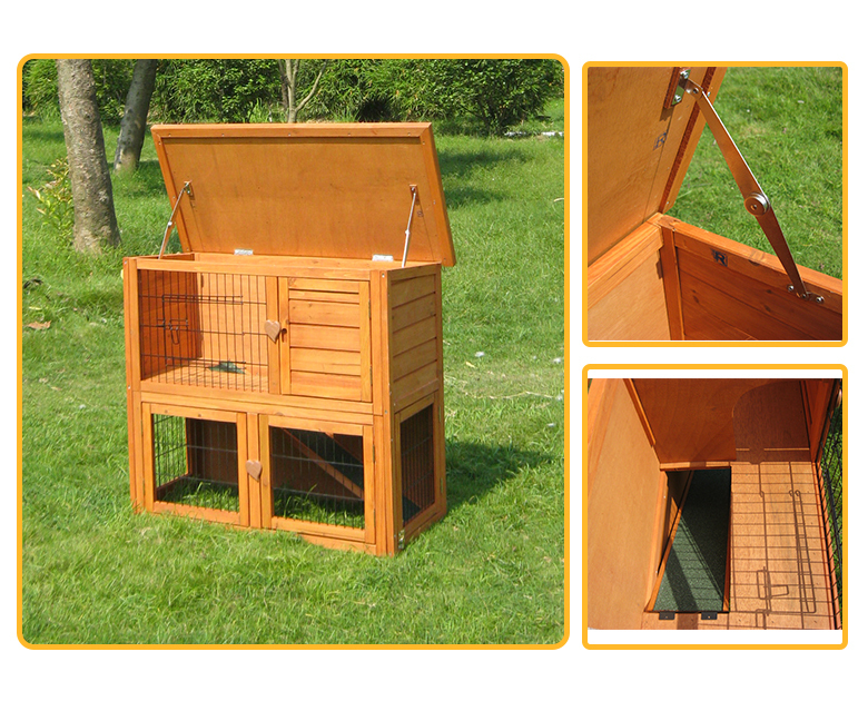 Two storey wooden rabbit cage with non-slip ramp and tray