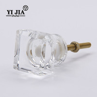 Modern Bedroom Kitchen Cabinet Handle Square Crystal Knob