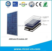High quality 200W solar pv module 24v with CE RoHS and TUV
