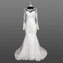 New Sample Long Sleeves Bridal Wedding Dress Mermaid Dresses Gowns With Chapel Train 2018