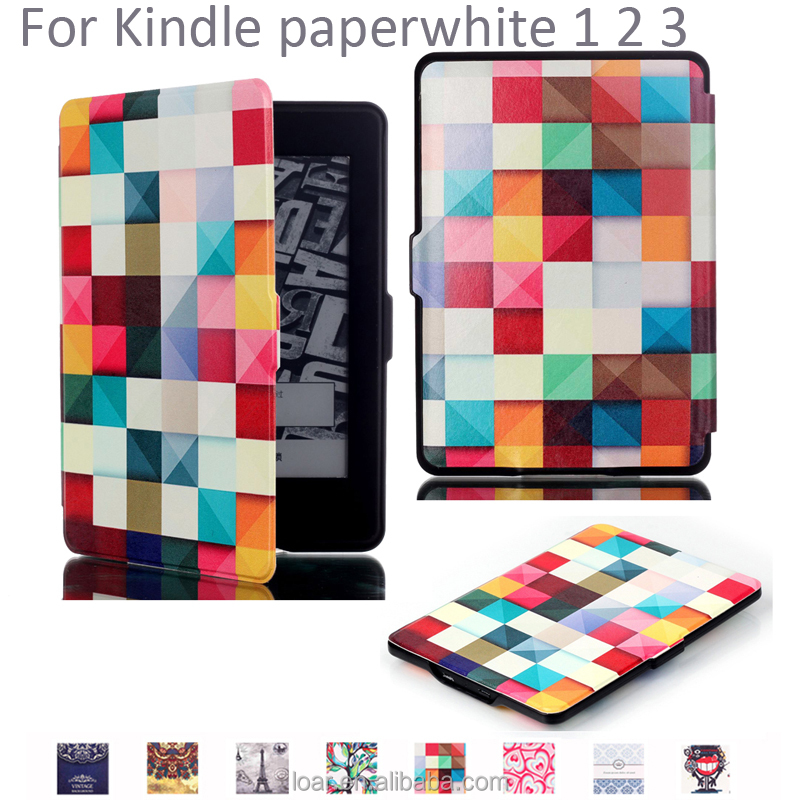 Colorful Geometry Pattern Leather Flip Case For Kindle Paperwhite 1 2 3 Smart Cover