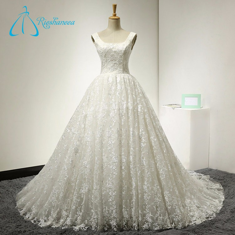 Lace Satin Sleeveless Summer Real Pictures of Wedding Dress