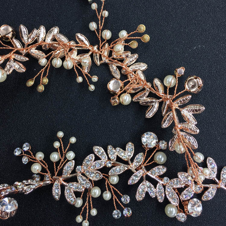 Factory Hand Wired Rose Gold Color Wedding Headpieces Bridal Vine