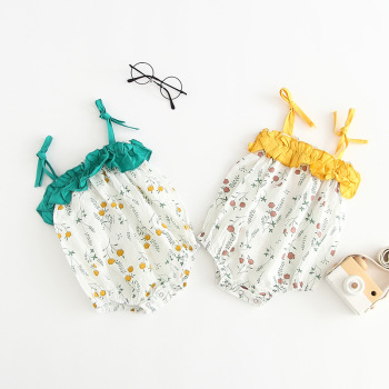 2019 top selling sling sleeveless print kids newborn clothes romper baby