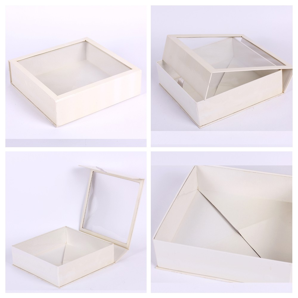 Simple design white cardboard box with window buy for Box window design