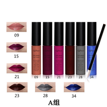 Qibest 6pcs/kit Lip Gloss Brown Nude Matte Shining Gloss waterproof Magic Color with lip brush
