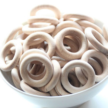 40mm Handmade Untreated Beech Wooden Baby Teething Ring Wooden Teething Toy