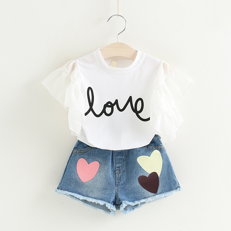 YD4219summer girl clothing t-shirt and denim short two pieces kid clothing