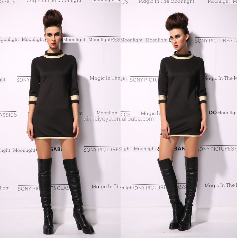 2015 Latest Arrival High Quality O-Neck Brief Style Half Sleeve Slim Fit Casual Elegant Ladies Black Dresses Wholesale