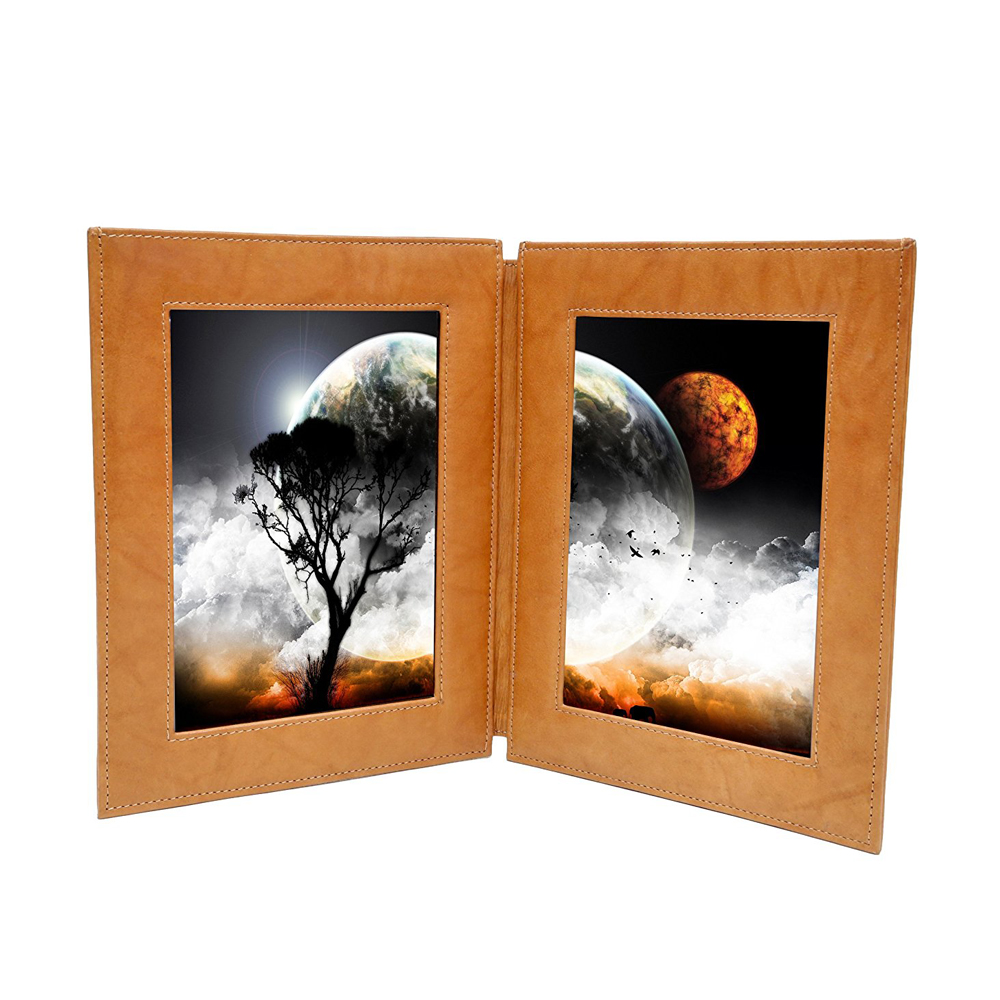 2017 High Grade Portable Leather Photo Frame, DOUBLE 5x7 Inches Portrait Photos For Best Gift