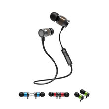 New Products 2017 Bluetooth Earphone Wireless Magnet Earbuds With Metallic Earphone housing