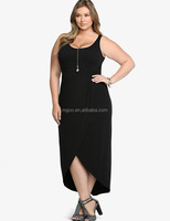 Stock Wholesale Women Black Jersey Plus Size Dress Casual 2016 Sleeveless Midi Chemise Femme Turkey