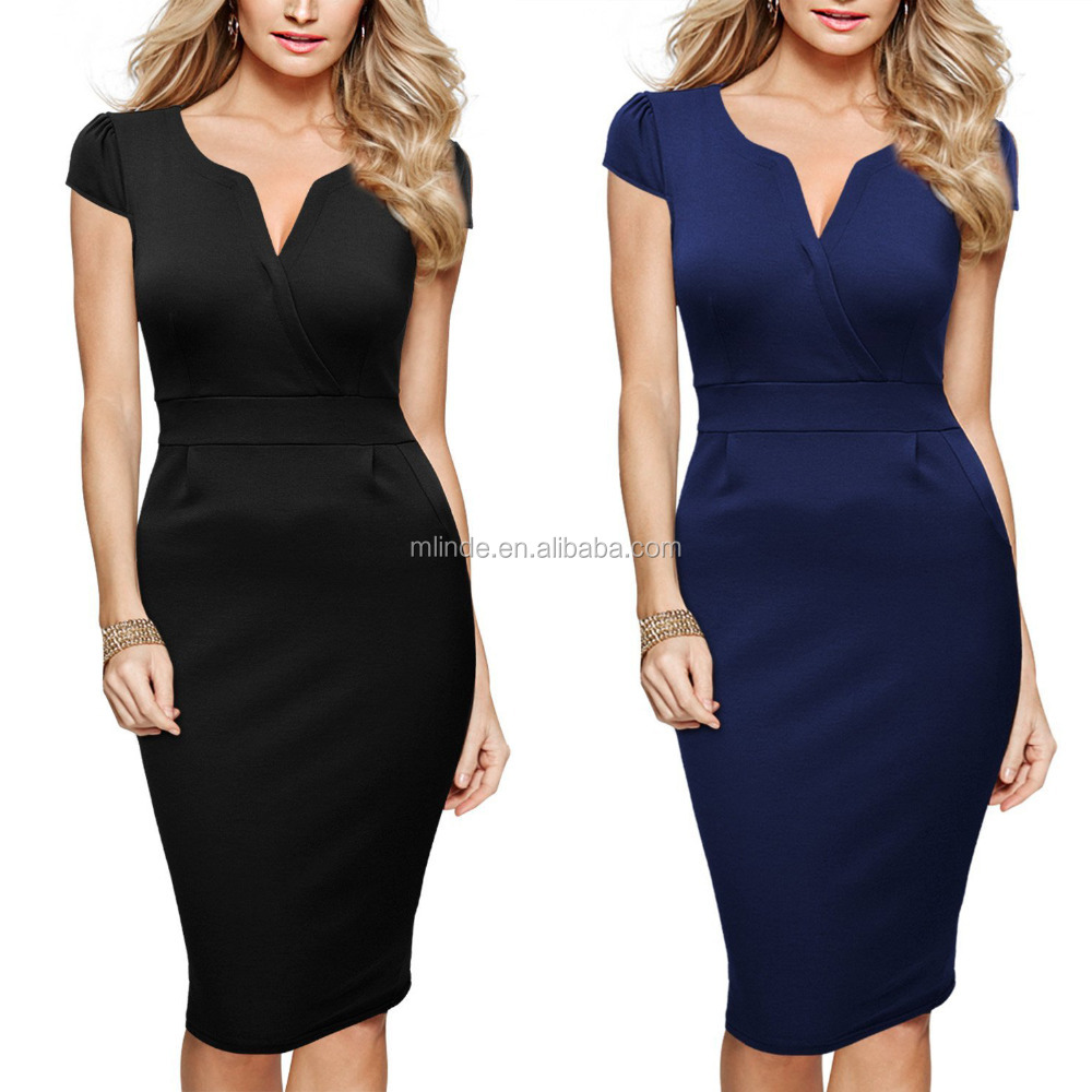 Women's Classicial Plain V Neck Retro Business Pencil Dress Bodycon Tight Marvelous Designer Dresses