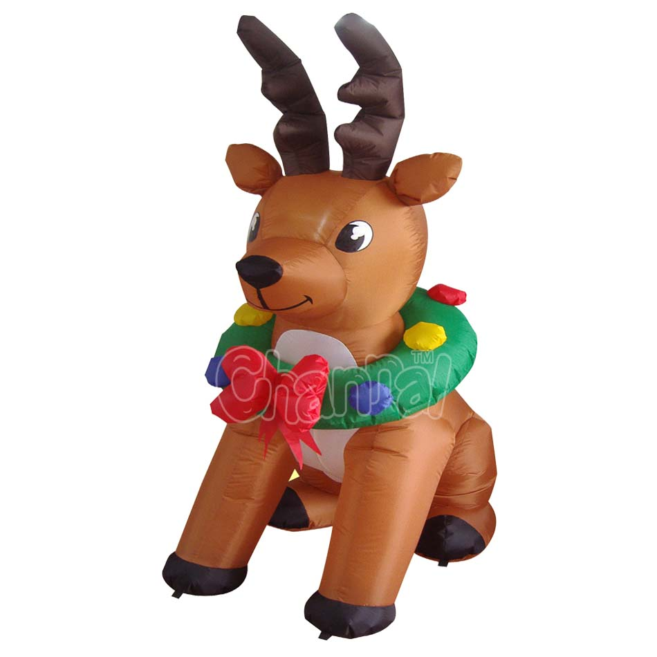 Interal lights high polyester Christmas inflatable reindeer with garland