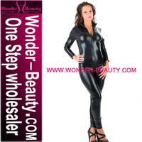 High Quality Black Sex Wet Look Latex Catsuit for Woman